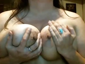 Older BBW lady rubs her great teats