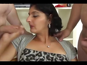 Indian Aunty Sucks Bonks acquires Facual cumshots from 2 BWC