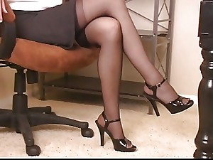 Hawt dark brown whore in office vibrator copulates and caresses her twat in stockings