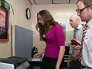 Super ravishing all red dark brown with spectacles office fuck